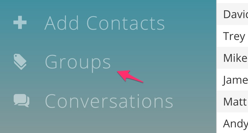 Groups in menu